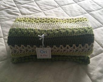 Striped baby blanket, Crochet Baby Blanket, green baby blanket, neutral baby blanket, unisex baby blanket, baby shower gift