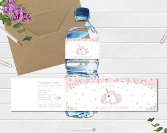 Unicorn Water Bottle Labels, Stickers, 1st Birthday Party, Personalized, Printable, Digital, First, Floral, Watercolor, Rainbow, Pastel Cute