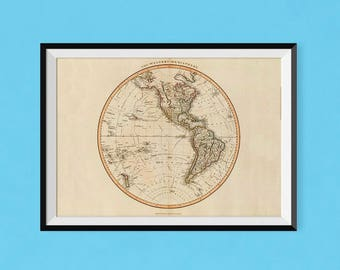 Western Hemisphere Atlas 1801 | Vintage World Map Poster | Fine Art Reproduction Poster of Antique Map of the World, old world map print