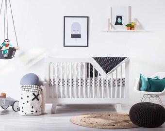 Modern Crib Bedding Set, Black and White Baby Bedding, Crib Bedding Girl, Crib Bedding Boy, Nursery Bedding Set, Scandinavian Baby Bedding