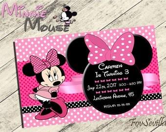 minnie mouse invitation,minnie mouse birthday invitation,minnie mouse invitation party,minnie mouse, invitación m mousnniee, art print minni