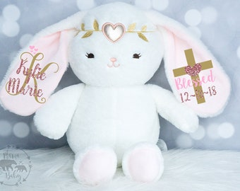 Baby Girls Baptism Gift, Keepsake Gift, Christening Gift, Monogrammed Bunny, Blessed Gift, Confirmation Gift, Personalized Bunny