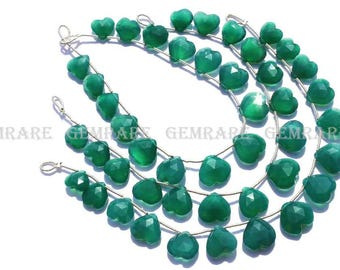 Green Onyx Faceted Love Heart beads, Quality AAA, 10.50 to 13 mm, 18 cm, 15 pieces, GR-065/1, Semiprecious Gemstone beads, Craft supplies