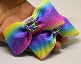 Unicorn hair bows, hair elastic pairs, mini hair bows, rainbow hair scrunchies, ribbon hair bows, Easter hair bows, thick hair bows