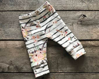 Striped floral baby legging; striped baby pants; floral baby pants; baby shower gift set; photo prop