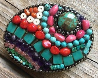 Women's Belt Buckle, Mosaic belt buckle, Gem Stones, Turquoise