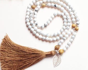 Howlite necklace • Picture Jasper • Tassel necklace • Long tassel mala • Mala beads 108 • Yoga necklace • Prayer beads • Stress relief gifts