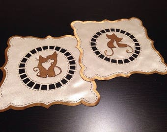 Valentina's Day  Loving Cats Table Mat Table topper,Fabric Ornamental Mat,Clothing Ornamentation