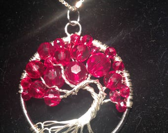 Valentina's Day.Tree of Life Necklace Pendant with Artistic.Wire Silver Plated.Tarnish Resistant Silver.Swarovski crystals.Passion and love.