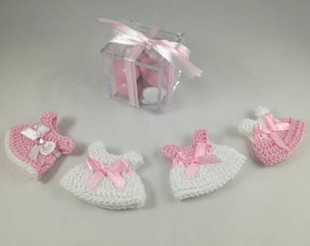 Pink dress crochet christening favors