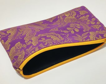 Golden Filigree on Purple Novelty Zipper Pouch - makeup bag; pencil case; gift for her; cosmetic bag; carry all; gadget case;