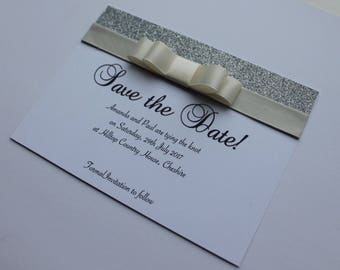 Save the Date Luxury Ribbon Bow and Glitter in Any Colour - Kate 1006