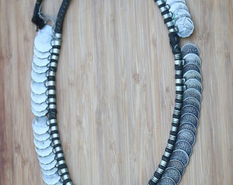 Vintage Nepalese Coin Necklace, Ethnic tribal old coin necklace, PetesNeatOldStuff, money necklace, collectible coin necklace