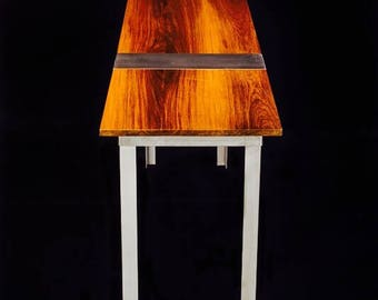 Slim 450, Sofa Table, Hallway Table, Brazilian Tiger Wood, Stainless Steel, Desk