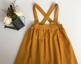 Vintage Mustard Suspender Skirt