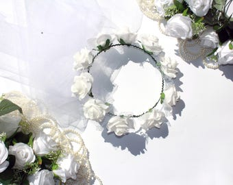 Bride flower wreath with veil, spring flower wreath, bridal party veil, Bachelorette veil, Bridal party gift, wedding party veil, Bride gift