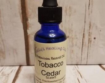 TOBACCO CEDAR PREMIUM Beard Oil. Beard Conditioner. Glass 1oz Bottle with Dropper.