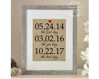 The First Day The Yes Day The Best Day, Wedding Gift, Wedding Gifts for Couple, Bridal Shower Gift for Husband Gift for Bride and Groom gift