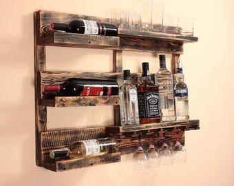 Wine Rack from Wood 80x60 cm Wine rack wall mounted - Rustic wine rack - Rustic decor - Provincial furniture - Rustic shelf - Wine decor P02