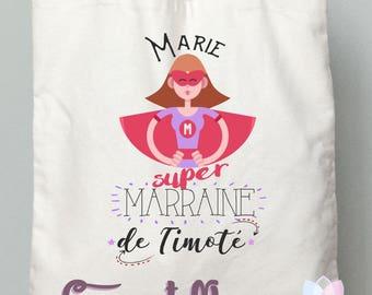 """GODMOTHER gift tote bag """"super godmother"""""""