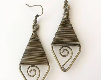 Brass Wrapped Dangle Earrings