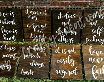 Corinthians Signs (8), Wedding Aisle Signs, Ceremony Aisle Signs, Wood Corinthians Signs, Love is Patient Signs
