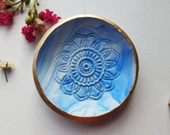 Marble Ring Dish Set, Mandala Ring Dish, Catchall, Blue Trinket Dish, Blue Marble Jewelry Holder, Trinket Tray, Birthday Gift for Her