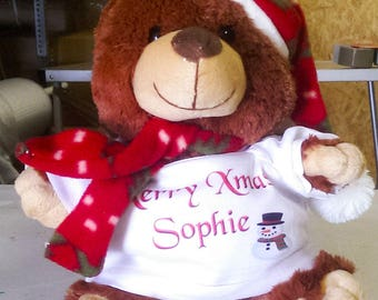 Personalised  Christmas Cuddly Soft Berry Bear  Comes With Its Own T Shirt