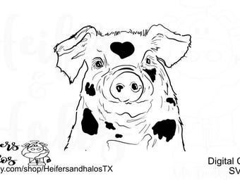 Spotted pig hog digital cut file for cricut and silhouette, svg, pdf, png, eps, dxf, studio3, design for t-shirts, decals, farm, stockshow