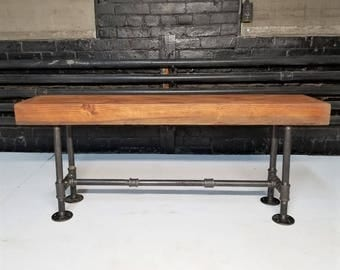 Thick Wood & Steel Pipe Base Bench, Rustic Industrial Bench, Wooden Seat, Steampunk Furniture