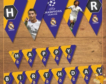 Real Madrid banner for birthday party, football party - INSTANT DOWNLOAD _ Digital File