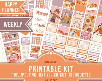 November Weekly Kit, Thanksgiving Weekly Kit, Happy Planner Stickers, Printable Sticker Kit, MAMBI Stickers, Fall Planner Sticker, 17050
