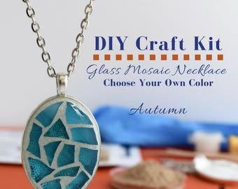 Glass Mosaic Jewelry Kit, DIY Necklace Activity, Choose Your Own Autumn Color, Gift under 15, DIY Jewelry Kit, silver oval pendant DIY craft