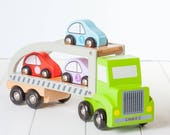 Personalised Green Wooden Toy Car Transporter