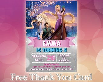Tangled Invitation / Rapunzel Birthday Invitation / Rapunzel Party Invite / Disney Princess Invitation / Tangled Invitation / TG02