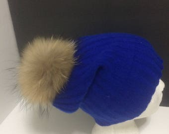 Cashmere Beanie - 100% Pure Cashmere, Royal Blue, Cashmere Hat with large  Real Raccoon fur pom pom.