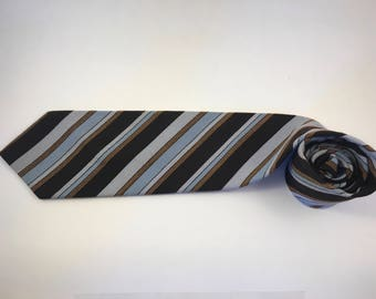 Vintage WEMLON retro striped black/brown/blue necktie