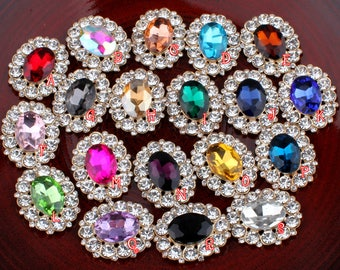 25mm*31mm Bling Oval Rhinestone Buttons for Jewelry Findings Alloy Flatback Crystal Beads for Wedding Embellishment