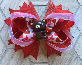 YOU PICK CENTER piece, Red boutique hair bow, Valentines hair bow, toddler hair bow, red hair bow, girls hair bow