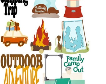 Various sizes of Camping Stickers on one sheet! Great for Weekly Planning