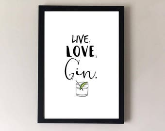 Gin Print, Gin Gifts, Kitchen Wall Art, Gin Glass, Alcohol Gifts,