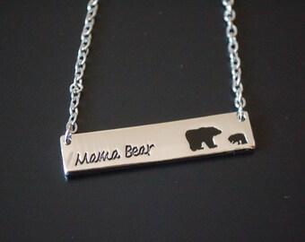 silver tone mama bear baby bear necklace