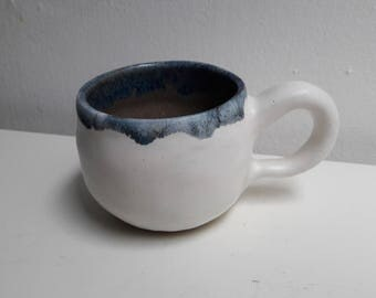 White Thrown Ceramic Mug Cup with Blue and Grey glaze detail