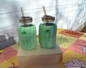 Mason Jar Cozies Quart Jar Insulated (set of two) green stripe