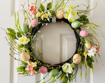 Easter Wreath for front door,Eggs Wreath,Easter door decoration,Spring wreath for front door