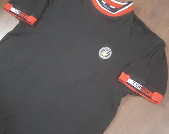 Tommy Hilfiger Black Crest Logo Tshirt Mens Size Large Vintage Tommy Tuesday