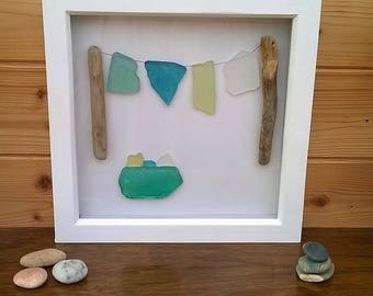 Washing line with driftwood and tumbled glass wall art