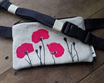 "Belt bag ""Poppy flowers"" - tobacco or smart phone"