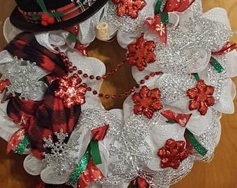 Glitzy Glam Snowman Christmas Wreath