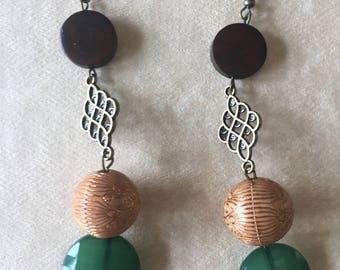 earring,bronze earring,long earring,wooden earring,beaded earring,drop earring,dangle earring,pierced earring,bronze jewelry,jewelry